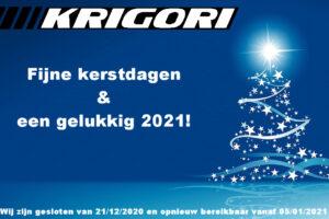 Eindejaar sluiting tot 05/01/2021